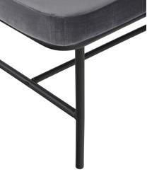 Samt-Sitzbank Comma, Bezug: Polyestersamt, Gestell: Stahl, pulverbeschichtet, Bezug: GrauGestell: Schwarz, 160 x 46 cm