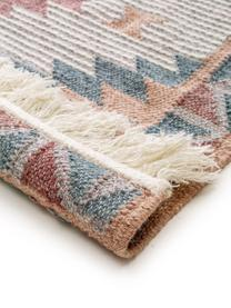 Handgewebter Kelimteppich Cari mit Muster und Fransen, 70% Wolle, 30% Polyester, Mehrfarbig, B 200 x L 300 cm (Größe L)