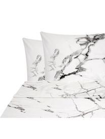 Set lenzuola in percalle effetto marmo Malin, Grigio, 240 x 300 cm + 2 federe 50 x 80 cm