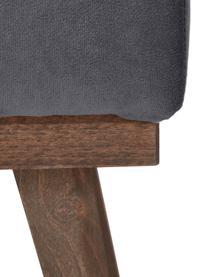 Sofa-Hocker Alva aus Samt in Dunkelgrau mit Buchenholz-Füßen, Bezug: Samt (Hochwertiger Polyes, Gestell: Massives Kiefernholz, Füße: Massives Buchenholz, gebe, Dunkelgrau, B 74 x T 44 cm