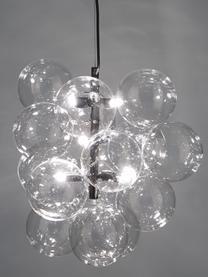 Lampada a sospensione in vetro Bubbles, Paralume: vetro, Baldacchino: metallo verniciato a polv, Struttura: metallo verniciato a polv, Nero, Ø 32 cm