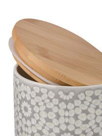 Barattolo con coperchio Abella, Coperchio: legno di bambù, Barattolo: grigio chiaro, bianco Coperchio: bambù, Ø 11 x Alt. 12 cm