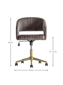 Samt-Bürodrehstuhl Murray, höhenverstellbar, Bezug: Polyestersamt, Beine: Metall, galvanisiert, Rollen: Kunststoff (Nylon), Grau, B 56 x T 52 cm