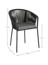 Gartenstuhl Yanet, Gestell: Metall, verzinkt und lack, Bezug: Polyester, Schwarz, B 56 x T 51 cm