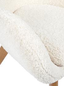 Fotel uszak z drewnianymi nogami Teddy Wing, Tapicerka: poliester (futro Teddy), Nogi: lite drewno z z fornirem , Kremowobiały, S 77 x G 89 cm