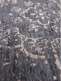 Tappeto vintage in ciniglia Medaillon, Retro: filato di ciniglia rivest, Nero, beige, Larg. 80 x Lung. 150 cm (taglia XS)