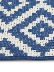 Tappeto blu/bianco da interno-esterno Miami, 86% polipropilene, 14% poliestere, Bianco crema, blu, Larg. 200 x Lung. 290 cm  (taglia L)