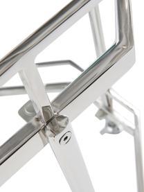 Glas-Servierwagen Bilbao in Silber, Ablagefläche: Glas, Gestell: Metall, verchromt, Chrom, Transparent, Ø 48 x H 76 cm