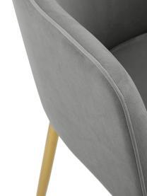 Fluwelen armstoel Ava met goudkleurige poten, Bekleding: fluweel (100% polyester), Poten: gegalvaniseerd metaal, Fluweel grijs, poten goudkleurig, B 57 x D 62 cm