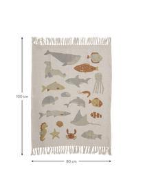 Baby-Plaid Abaas mit Fransen, 52% recycelte Baumwolle, 32% Polyester, 10% Acryl, 6% Rayon, Beige, Mehrfarbig, 80 x 100 cm