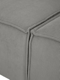 Modulares Sofa Lennon (3-Sitzer) in Grau aus Cord, Bezug: Cord (92% Polyester, 8% P, Gestell: Massives Kiefernholz, Spe, Füße: Kunststoff Die Füße befin, Cord Grau, B 238 x T 119 cm