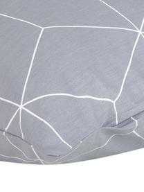 Baumwoll-Kissenbezüge Lynn mit grafischem Muster, 2 Stück, Webart: Renforcé Fadendichte 144 , Grau, Cremeweiß, 40 x 80 cm