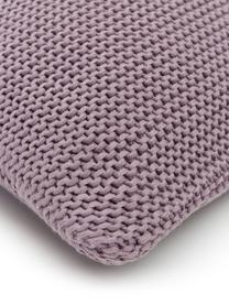 Strick-Kissenhülle Adalyn aus Bio-Baumwolle in Lila, 100% Bio-Baumwolle, GOTS-zertifiziert, Lila, 40 x 40 cm