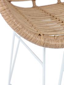 Polyrotan armstoelen Costa, 2 stuks, Frame: gepoedercoat metaal, Lichtbruin, poten wit, B 59 x D 58 cm