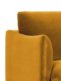 Fluwelen hoekbank Moby in mosterdgeel met metalen poten, Bekleding: geweven stof (polyester), Frame: massief grenenhout, Poten: gelakt metaal, Fluweel mosterdgeel, B 280 x D 160 cm