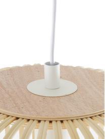 Lampada a sospensione in bambù Adam, Baldacchino: metallo verniciato a polv, Bianco, beige, Ø 21 x Alt. 24 cm