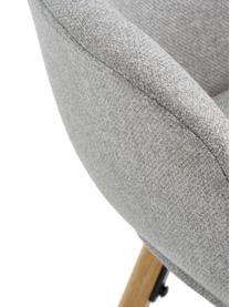 Armstoel Fiji met houten poten, Bekleding: polyester, Poten: massief eikenhout, Geweven stof lichtgrijs, B 59 x D 55 cm