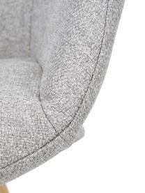 Armlehnstuhl Fiji mit Holzbeinen, Bezug: Polyester Der hochwertige, Beine: Massives Eichenholz, Webstoff Hellgrau, Eichenholz, B 59 x T 55 cm