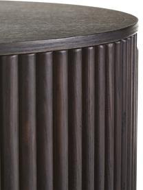 Holz-Beistelltisch Nele mit Stauraum, Mitteldichte Holzfaserplatte (MDF) mit Eschenholzfurnier, Braun, Ø 40 x H 51 cm