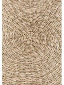 Ronde placemat van zeegras Whirl, Zeegras, Lampenkap: grijs. Lampvoet: grijs. Snoer: wit, Ø 38 cm