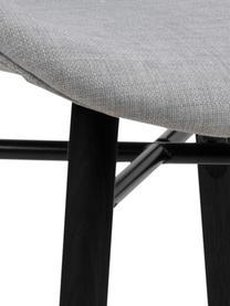 Polsterstühle Batilda in Hellgrau, 2 Stück, Bezug: 100% Polyester, Beine: Gummiholz, beschichtet, Hellgrau, Schwarz, B 47 x T 53 cm