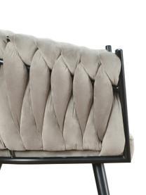 Krzesło z podłokietnikami z aksamitu Larissa, Tapicerka: aksamit (100% poliester), Nogi: metal, Aksamitny beżowy, nogi: czarny, S 63 x G 55 cm
