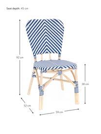 Krzesło ogrodowe Bistrot, Tapicerka: tkanina, Stelaż: rattan, Niebieski, biały, S 59 x G 52 cm