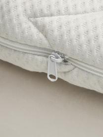 Premium Samt-Boxspringbett Phoebe, Matratze: 7-Zonen-Taschenfederkern , Füße: Massives Buchenholz, lack, Beige, 180 x 200 cm