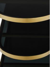 Gouden metalen sidetable Laura met glazen platen, Frame: gelakt metaal, Transparant, goudkleurig, B 116 x D 39 cm