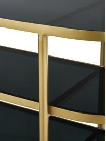 Konsola ze szklanymi półkami Laura, Stelaż: metal lakierowany, Transparentny, odcienie złotego, S 116 x G 39 cm