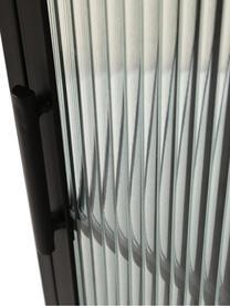 Kleine Vitrine Markus mit Rillenglas und Metallrahmen, schwarz, Gestell: Metall, beschichtet, Schwarz,Transparent, 40 x 92 cm