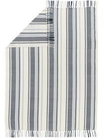 Gestreiftes Plaid Lines aus recyceltem Polyester, 100% Recycelter Polyester, Blau, Weiß, 130 x 170 cm
