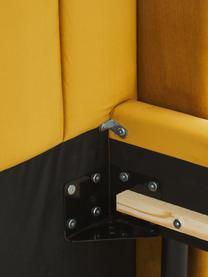 Samt-Polsterbett Dusk in Gelb, Bezug: Polyestersamt Der hochwer, Korpus: Massives Kiefernholz und , Füße: Metall, pulverbeschichtet, Samt Gelb, 200 x 200 cm