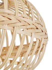 Pendelleuchte Becca aus Bambus, Lampenschirm: Bambus, Sperrholz, Baldachin: Metall, pulverbeschichtet, Beige, Ø 38 x H 27 cm