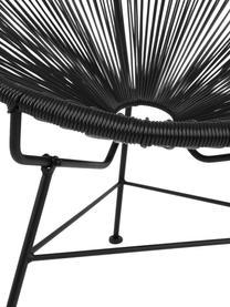 Sedia a poltrona intrecciata Bahia, Seduta: materiale sintetico, Struttura: metallo verniciato a polv, Materiale sintetico: nero Struttura: nero, Larg. 81 x Prof. 73 cm