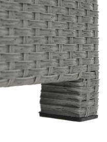 Komplet mebli ogrodowych Conmay, 3 elem., Stelaż: aluminium, rattan syntety, Tapicerka: olefina, Blat: szkło, Stelaż: szary Tapicerka: ciemnyszary Blat: transparentny, Komplet z różnymi rozmiarami