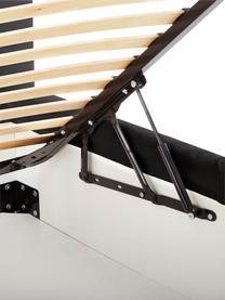 Letto imbottito in tessuto antracite con contenitore Feather, Rivestimento: poliestere (tessuto strut, Tessuto antracite, 180 x 200 cm