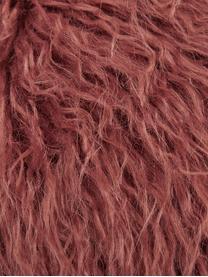 Flauschige Kunstfell-Kissenhülle Morten in Terrakotta, gelockt, Vorderseite: 67% Akryl, 33% Polyester, Rückseite: 100% Polyester, Terrakotta, 40 x 40 cm