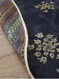 Runder Teppich Lauren mit Blumenprint, 60% Polyester, 30% thermoplastisches Polyurethan, 10% Baumwolle, Blau, Beige, Ø 90 cm (Größe XS)