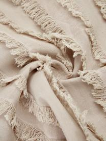 Kissenhülle Jessie in Beige mit dekorativen Fransen, 88% Baumwolle, 7% Viskose, 5% Leinen, Beige, 30 x 50 cm