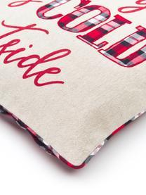 Bestickte Wendekissenhülle Chilly mit Aufschrift und karierter Rückseite, 100% Baumwolle, Beige, Rot, GrünKederumrandung: Rot, Grün, 45 x 45 cm