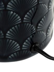Kleine Tischlampe Lola aus Keramik, Lampenschirm: Leinen, Lampenfuß: Keramik, Dunkelblau, Weiß, Ø 18 x H 32 cm