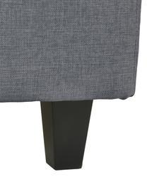 Premium boxspring bed Eliza in grijs, Matras: 5-zones pocketvering, Poten: massief gelakt berkenhout, Geweven stof beige, 140 x 200 cm