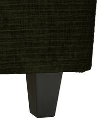 Premium corduroy boxspring bed Eliza in donkergroen, Matras: 5-zones pocketvering, Poten: massief gelakt berkenhout, Corduroy donkergroen, 200 x 200 cm