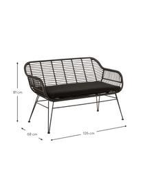 Polyrotan zitbank Costa, Zitvlak: polyethyleen-vlechtwerk, Frame: gepoedercoat metaal, Zwart, B 126 x D 68 cm