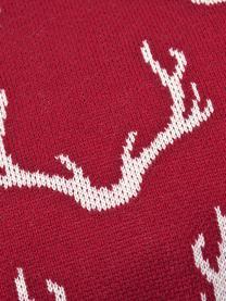 Poszewka na poduszkę z dzianiny Malte, 100% bawełna, Czerwony, kremowobiały, S 40 x D 40 cm