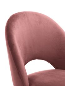 Chaise de bar velours Rachel, Velours vieux rose