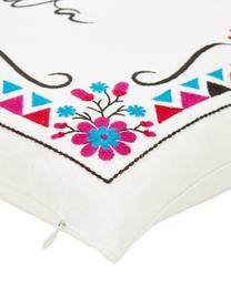 Federa arredo ricamata Viva la Vida, 100% cotone, Bianco crema, multicolore, Larg. 45 x Lung. 45 cm