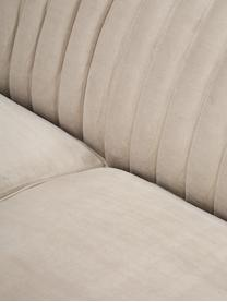 Fluwelen bank Dante (3-zits), Bekleding: polyesterfluweel, Frame: gelakt rubberhout, Beige, B 210 x D 87 cm