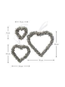 Deko-Herzen Halina in Silber, 3 Stück, Metall, Weiß, Sondergrößen